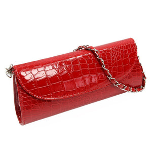 VSEN Fashion Designer Crocodile Pattern Ladies' Shoulder Chain Bag Wallet PU Leather Clutch Evening Bag Purse for Women Handbag