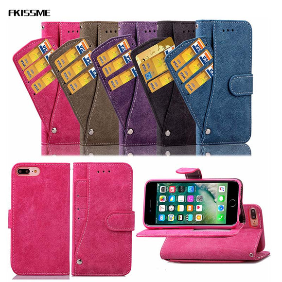 FKISSME Luxury Wallet Leather Case For iPhone 7 Plus X 6 6S 8 Plus Card Slots Stand Flip Case for Samsung Galaxy S8 Plus S7 Edge