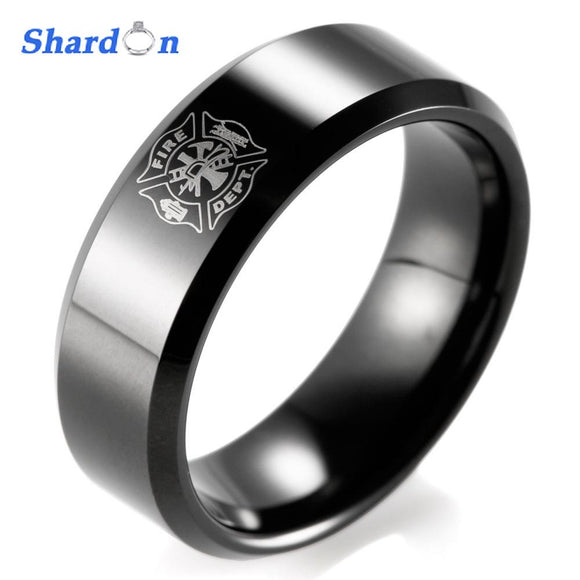SHARDON Classic ring men 8mm IP Black Tungsten Carbide Firefighter Shield Design Outdoor Wedding Band men firefighter rings