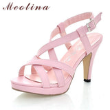 Meotina Women Sandals Gladiator Sandals Shoes Summer Platform Sandals Big Size 10 42 High Heels Female Cutout Pink Ladies Shoes