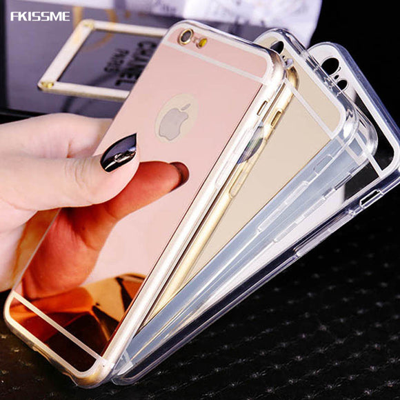 FKISSME Luxury Gold Plating Mirror Case For Iphone 6S Plus X 7 8 Plus Soft TPU Cover For Iphone 7 Plus 5S Ultra Slim Phone Cases
