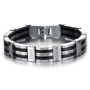 "8.27"" 13mm Wide Silver Stainless Steel Black Silicone Bracelet Bangles Birthday Gift for Men Jewelry (with Gift Bag)"