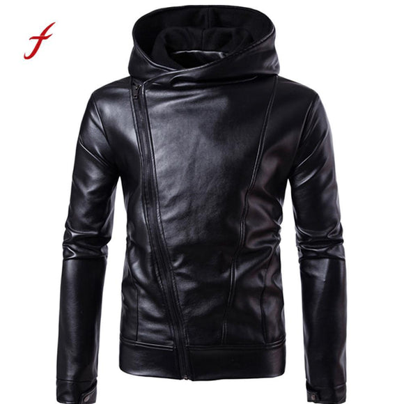 2017 Fashion Men Leather Jacket Autumn&Winter Biker Motorcycle Jackets Zipper Outwear Warm Coat Black Plus Size M- XXL