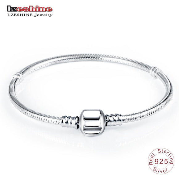 LZESHINE Authentic 100% 925 Sterling Silver Basic Snake Chain Clasp Bracelet & Bangle Luxury Jewelry Gift PSBR0018