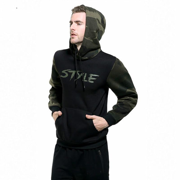Russia Size Solid Pullover Hoodie Winter Warm Cotton Black White Gray Navy Blue Camouflage Colors Sweatshirt Men Thick Hoodies