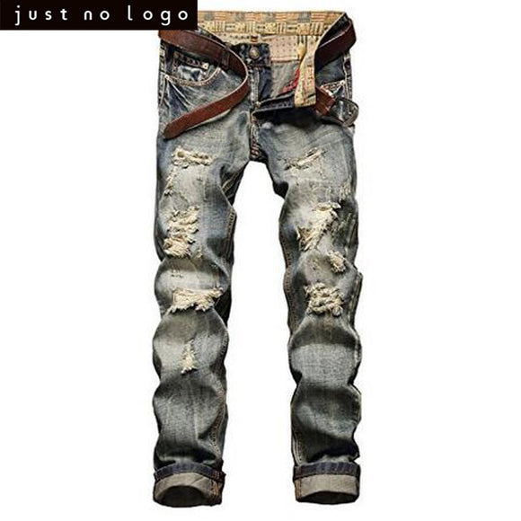 Men Blue Hip Hop Skinny Ripped Jeans Vintage Slim Fit Denim Pants Casual Destroyed Straight Trousers for Men Party School