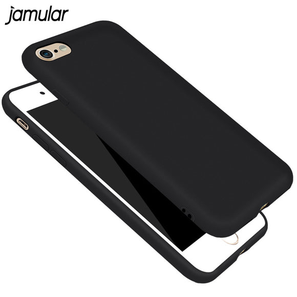 JAMULAR Black Matte Rubber Phone Case for iPhone X 6 6s 8 Plus 5s SE Shockproof Silicone Cover for iPhone 7 8 Plus 6 6s Cases