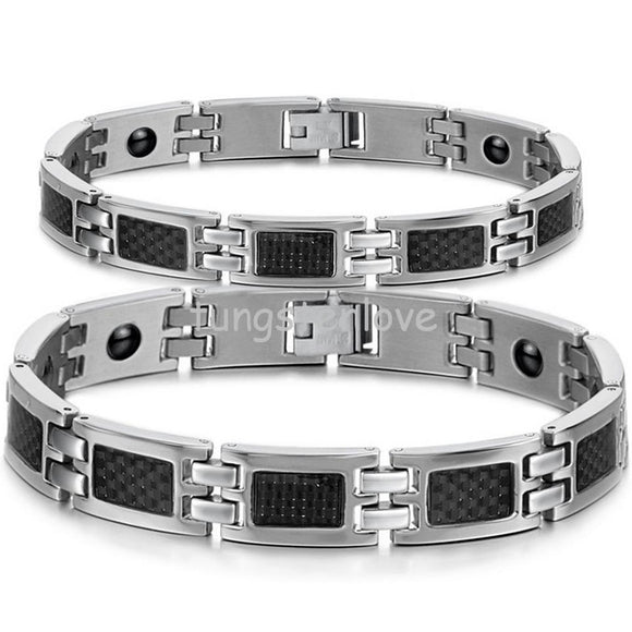 His or Hers Healthy Black Carbon Fiber Energy Magnetic Stone Stainless Steel Bracelets for Couple Lovers Valentine's Gift