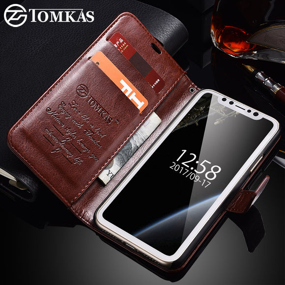 TOMKAS Case For iPhone X iPhoneX Wallet Cover Flip Style PU Leather Phone Bag Case For iPhone X 10 Coque Card Holder Kickstand