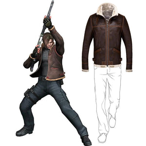 Biohazard Resident Evil 4 Leon S Kennedy Costume Leather Coat Jacket Cosplay PU Faur Jacket Long-sleeve Winter Outerwear Coat