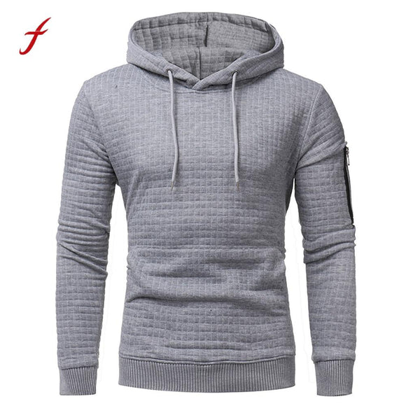 Fashion Mens' Long Sleeve Hoodie Plaid Hooded 2017 Sweatshirt pullover Tops Outwear Slim Plus Size Tracksuit Mens Autumn Casual