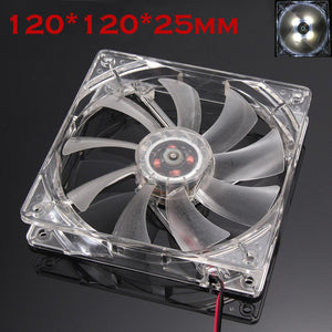 Mokingtop White Cool Fan Quiet 12cm/120mm/120x120x25mm 12V Computer/PC/CPU Silent Cooling Case Fan For Radiator Mod#25