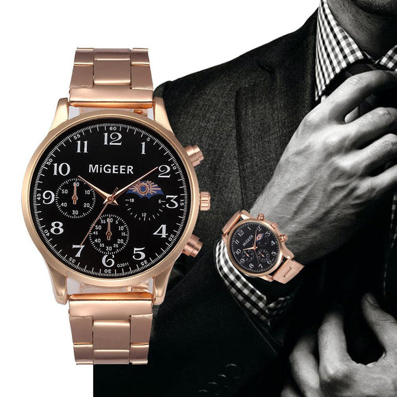 Migeer Fashion Rose Glod Men Watch Stainless Steel Band Luxury Analog Quartz Man Wrist Watch Casual Male Clock Business Watches