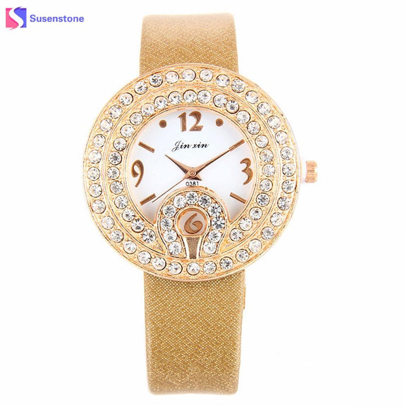 Fashion Rhinestone Watches Women Designed Leather Band Analog Alloy Quartz Round Wrist Watch Small Dial Ladies Female Clock