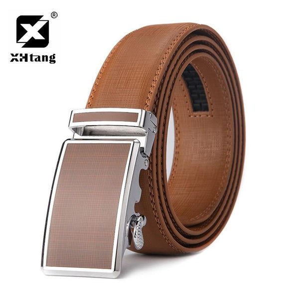 XHTANG Colorful Mans Belt Automatic Buckle hot Leather Ratchet Waistband Belts for Jeans Fashion Casual Leather Belts Men Gift