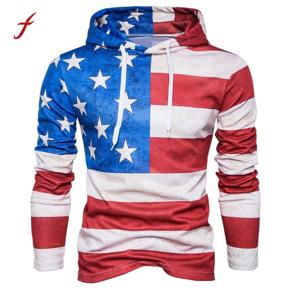 Fashion brand Men Hoodie Hoody Mens' American Flag Print Hoodie Hooded Plus Size Tracksuit Sweatshirt Tops Outwear Autumn Male