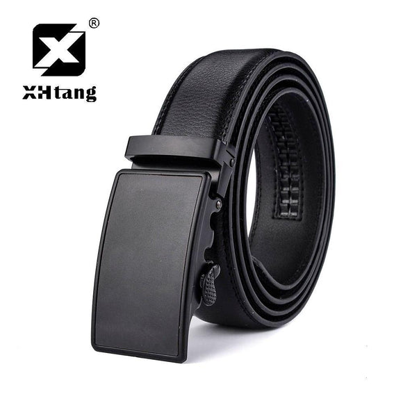 XHTANG Mans Belt Genuine Leather Ratchet Belt Automatic Buckle Belt Elegant Black Strap Jeans Belt for Business Men Hot Gift