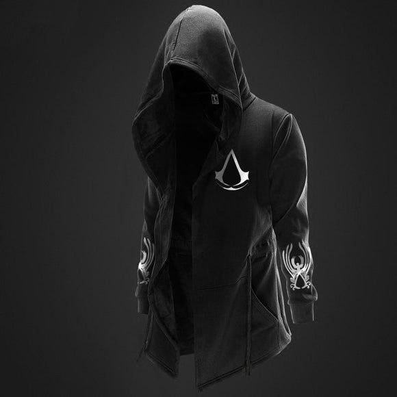 Autumn Winter Assasins Creed Hoodies Men Long Sleeve Sweatshirts Black Cloak Shawl Outwear Streetwear Style Hooded Men's Plus