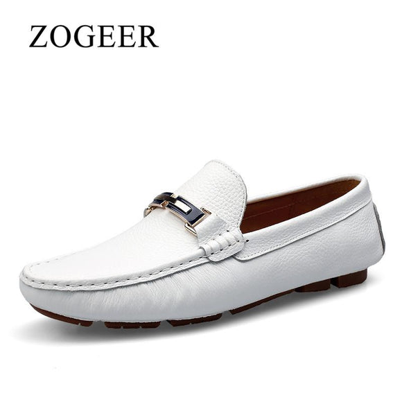 ZOGEER Big Size 38-46 White Men Shoes, Genuine Leather Mens Spring Shoes, 2018 New Design Casual Men Loafers