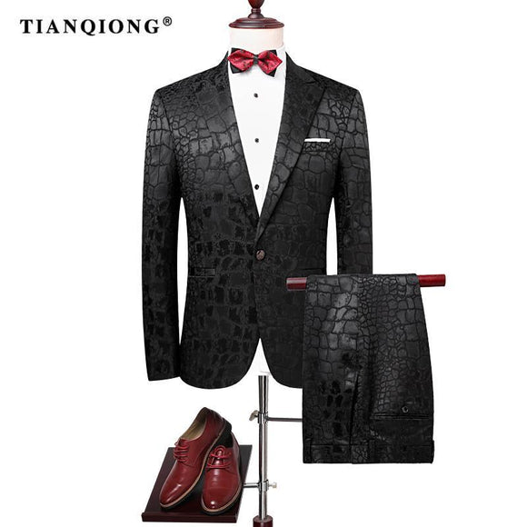 TIAN QIONG 2017 Men Groom Wedding Suit Slim Men Suit Latest Coat Pant Designs Fashion Dress Luxury Tuxedo Men Blazers 2 Pieces