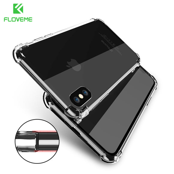 FLOVEME Classic Anti-knock TPU Case For iPhone X iPhone 7 8 Plus Clear Silicon Shockproof Cover For iPhone X Cases Accessories