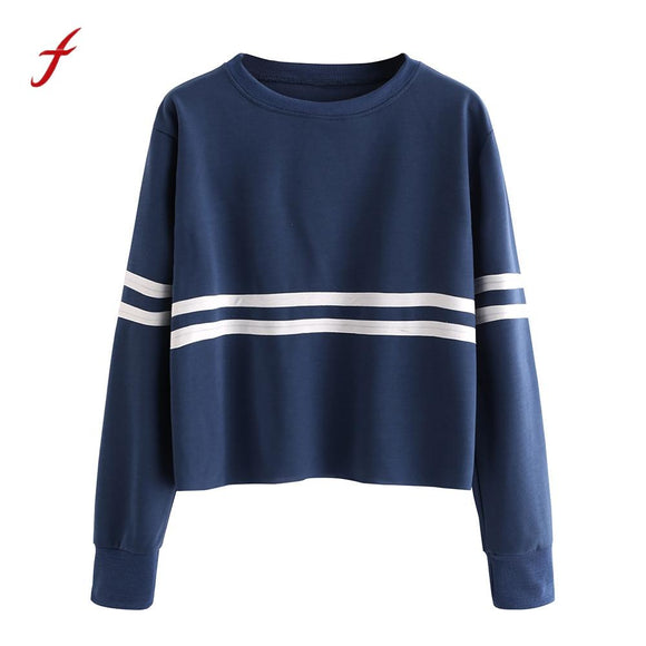 Fashion Bts 2017 Casual Women solid colour Pullover Women Stripe Long Sleeve O-Neck Pullovers Cozy cotton pullover Kpop