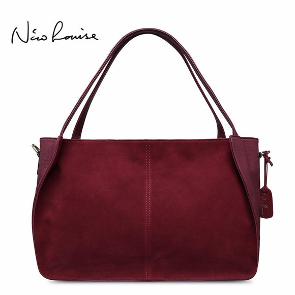 Nico Louise Women Real Split Suede Leather Tote Bag Solid Leisure Large Top-handle Bags Lady Casual Crossbody Shoulder Handbag