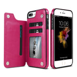 KISSCASE Leather Flip Stand Phone Case For iPhone 7 8Plus Case Card Holder Buckle Cover For iPhone X iPhone 6s