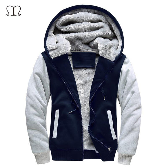 Europe Size Winter Warm Thick Hoodies Men Hoody Pullover Cotton Bomber Jacket Coats Men Fleece Cardigans Mens Sweatshirts 2017