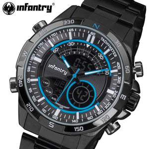 INFANTRY Men Sports Watches LED Display Stainless Steel Aviator Wristwatches Luminous Water Resistant Alarm Clock Relojes Hombre