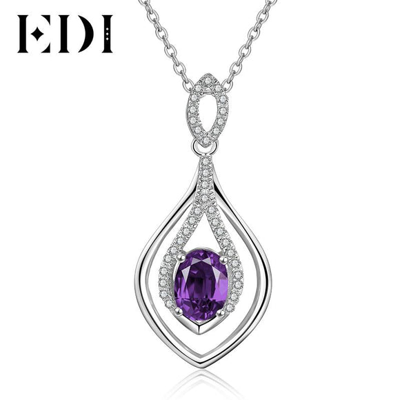 EDI Water Drop Natural Purple Amethyst Gemstone Pendant Necklace 925 Sterling Silver Wedding Chain for Women Jewelry Accessories
