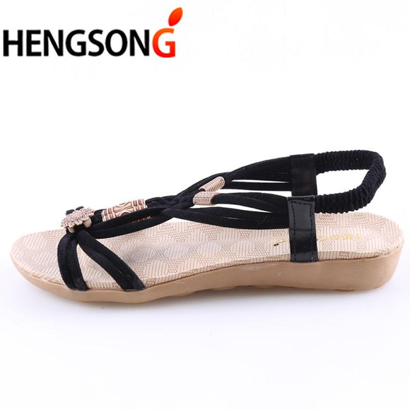 HENGSONG Brand Summer Shoes Woman Bohemia Beaded Flat Beach Sandals Women Shoes sandalias zapatos mujer Sapato Feminino RD642454