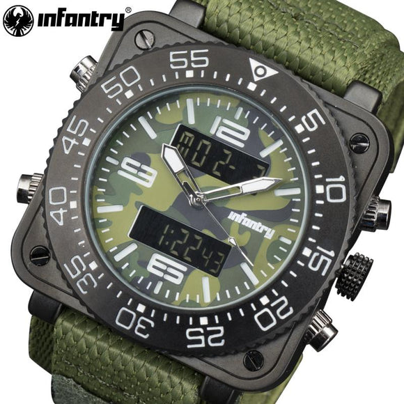 INFANTRY Quartz Watches Luxury Brand Men Camo Style Waterproof Green Nylon Analog-Digital Wrist Watch Luminous Relogio Masculino