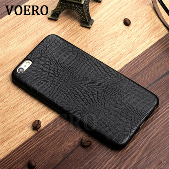 VOERO Luxury Crocodile Snake Print Leather Case For iPhone X 6 6s Plus Case Back Cover For iPhone 7 7 Plus Cases Phone Shell