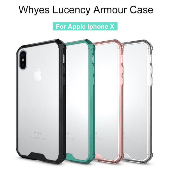 Whyes For Apple iphone X Case Transparent ShockProof Armour Soft TPU and Acrylic Simple Style Anti-Scratch For iphone X Case