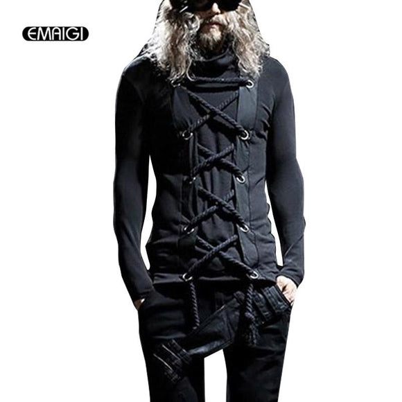 Men Punk Rock Gothic Style Tees Shirts Male Long Sleeve Fashion Slim Fit T-Shirt Spring Autumn T-shirt Stage Costumes