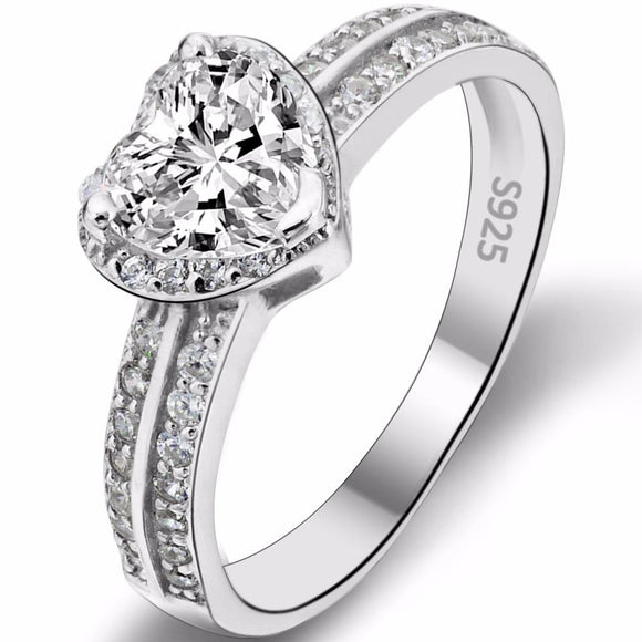 BELLA Fashion 925 Sterling Silver Heart Bridal Ring Clear Cubic Zircon Wedding Ring For Party Jewelry Day Gift