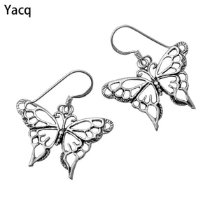YACQ 925 Sterling Silver Butterfly Dangle Drop Earrings Birthday Jewelry Gifts For Women Wife Her Girlfriend ping CE02