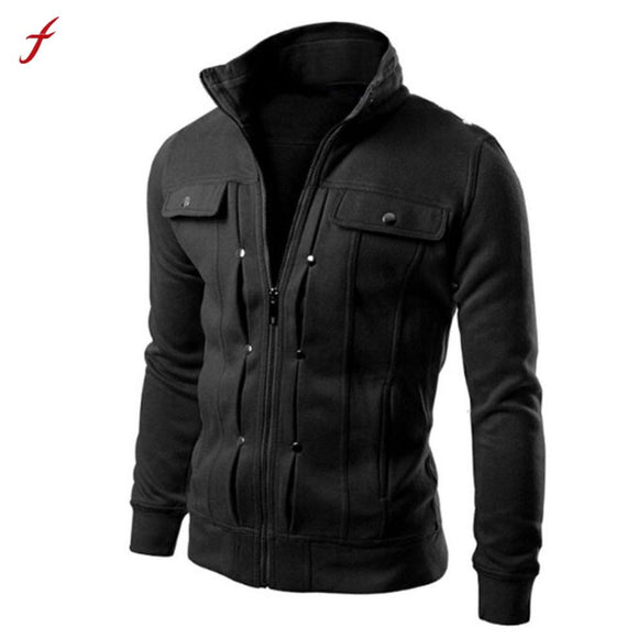 2017 Winter TOP Fashion Mens Slim Designed Lapel Cardigan Coat Jacket Plus Size Long Sleeve Jacket Cotton Coat