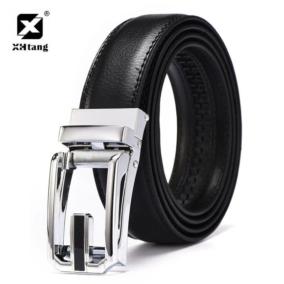 XHTANG Leather Mans Belt 2017 New Design Duckbill Buckle Ratchet Belt Casual Dress Strap Fashion Belts for Jeans Male Gift