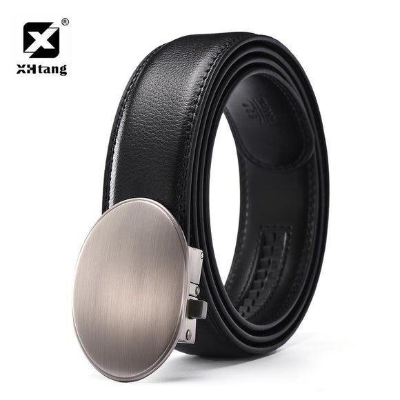 XHTANG Fashion Genuine Leather Belt Men Personality Elegant Automatic Buckle Belt Male Brand Gift Casual Belts for Jeans