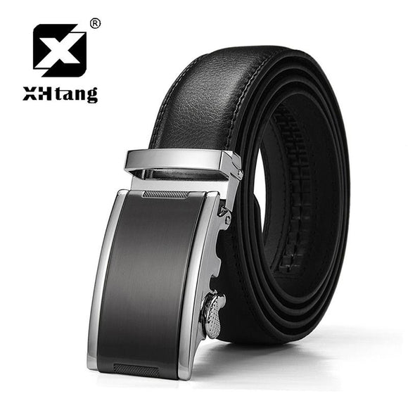 XHTANG Genuine Leather Ratchet Belt 3.5cm Men's Automatic Buckle Belt Elegant Black Strap for Jeans 2017 Hot Design Belt for Men