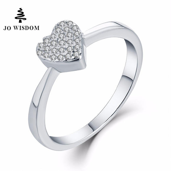 JO WISDOM Trendy Silver 925 Jewelry Rings Women Wedding Engagement Ring for Women CZ Heart Ring for Love