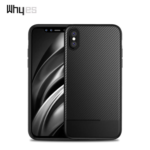 Whyes For Apple iphone X Case Perfect Luxury Carbon Fiber Soft TPU Case Durable Good Hand Feeling Phone Cover For iphone X