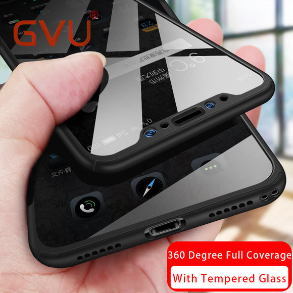 GVU 360 Degree Phone Case For iphone X Case With Tempered Glass For iphone 6 6s 7 8 Plus Case Plastic Cover Protect Front+back