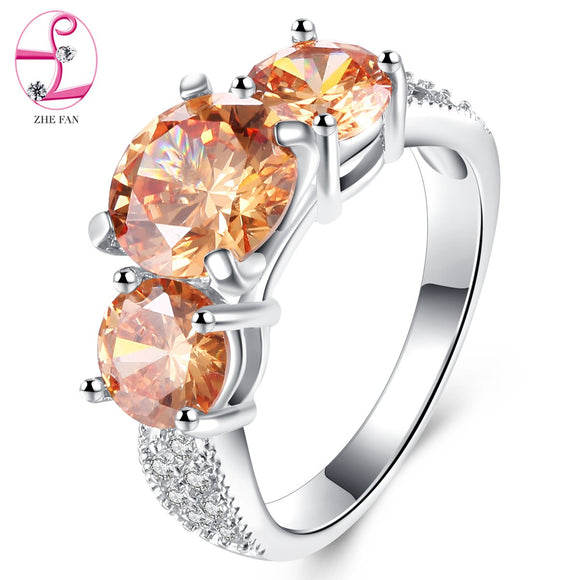 ZHE FAN Elegant AAA Cubic Zirconia Prong Ring Fashion Female Engagement Wedding Jewelry Gift Champagne