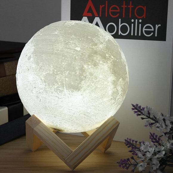 Rechargeable 3D Print Moon Lamp 2 Color Change Touch Switch USB Charging Night Light Luminaria Luna Lamp New Year Baby Kids Gift