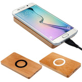 Wooden Face Qi Wireless Charger Pad for Samsung Galaxy S6 / S6 Edge Universal Qi Wireless Charger Pad Mobile Phone Charge black