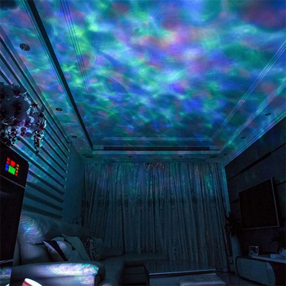 ICOCO 7 Color USB Ocean Wave Starry Sky LED Projector Night Light Novelty RC Lamp Illusion Light Remote Controller Hot Sale