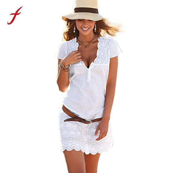 2017 Feitong White Dress Women Summer V Neck Short Sleeve Lace Dress Vestido De Renda Ladies Elegant Beach Party Daily Dresses